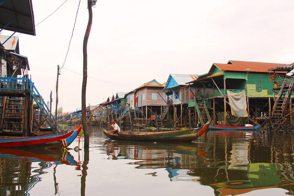 плавучие деревни Камбоджи озеро Танлесап